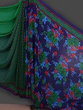Floral Printed Green Half & Half Saree - Bunny Sarees