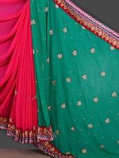 Embroidered Green & Pink Half & Half Saree - Bunny Sarees