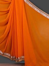 Solid Orange Gota Border Saree - Bunny Sarees