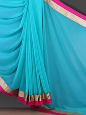 Gota Border Solid Blue Georgette Saree - Bunny Sarees