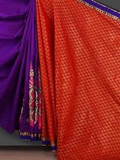 Woven Pallu Purple Embroidered Saree - Bunny Sarees