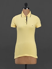 """"""" 3 """" Embroidered Sleeve Yellow Polo T-shirt - Meira"""