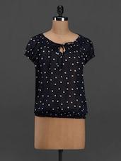 Polka Dot Printed Puff Sleeve Georgette Top - Meira