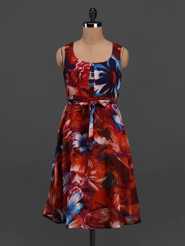 Floral Print Round Neck Crepe Midi Dress - Meira