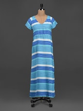 Striped Short Sleeve Crepe Maxi Dress - Meira