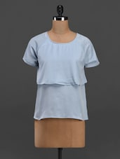 Round Neck Short Sleeve Layered Crepe Top - Meira