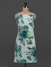 Boat Neck Sleeveless Floral Print Dress - Meira