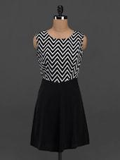Chevron Print Round Neck Crepe Dress - Meira
