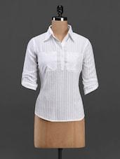 White Shirt Collar Cotton Top - Meira