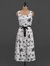 Floral Print Round Neck Crepe Dress - Meira
