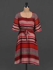 Round Neck Quarter Sleeve Striped Dress - Meira