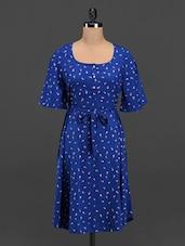 Round Neck Quarter Sleeve Printed Dress - Meira