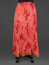 Damask Print Cotton Long Skirt - Indian Shoppe