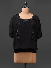 Black Butterfly Sleeves Embroidered Top - L'elegantae