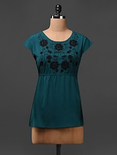 Green Round Neck Embroidered Top - L'elegantae