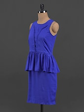 Royal Blue Polyester Peplum Dress - Yepme