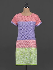 Multicolor Printed Round Neck Kurta - Yepme