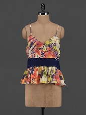 Tropical Print Polyester Peplum Top - Yepme