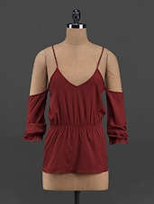 Maroon Polyester Cut-out Top - Yepme