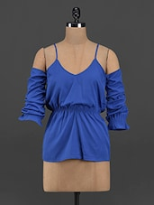 Solid Blue Strappy Cut Out Top - Yepme