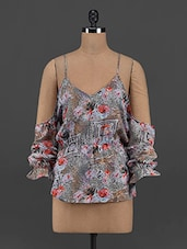 Printed Polyester Cut-out Top - Yepme