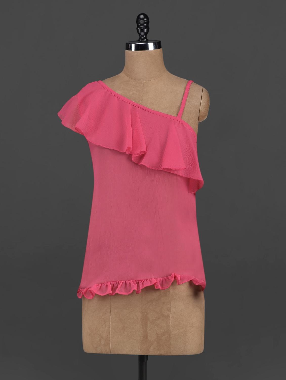 Pink Sheer Chiffon Ruffled Top - Yepme