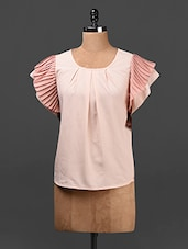Peach Pleated Frill Sleeves Crepe Top - Ridress