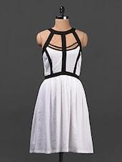 White & Black Crepe Skater Dress - Ridress