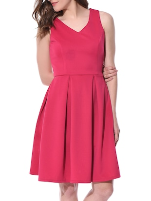 pink scuba fit and flare dress