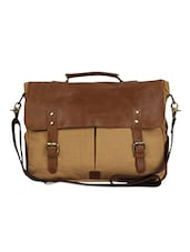 Brown Colour Block Buckled Laptop Bag - The House Of Tara