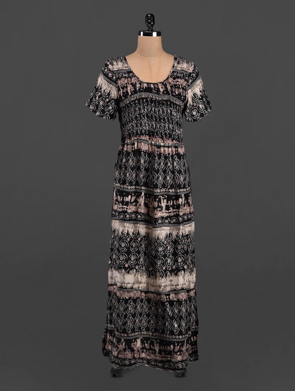 Black Printed Short Sleeve Maxi Dress - LastInch