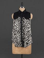 Animal Printed Shirt Collar Monochrome Top - EWA Women