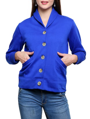 Royal Blue Cotton Fleece Jacket