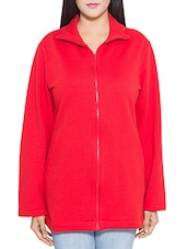 Red cotton fleece jacket -  online shopping for jackets