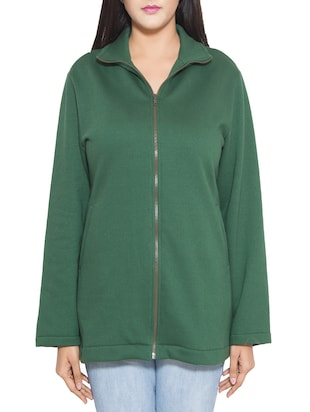 Green cotton fleece jacket