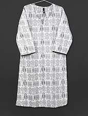 White Printed Cotton Kurti - AYAN
