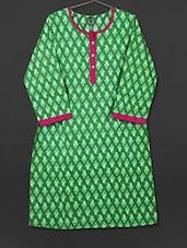 Green Paisley Printed Cotton Kurti - AYAN
