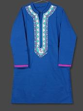 Blue Embroidered Placket Cotton Kurta - AYAN