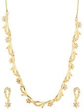 Gold Metal Alloy Necklace Set - Golden Peacock