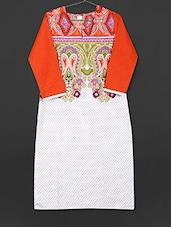 White Paisley Printed Cotton Kurti - AYAN