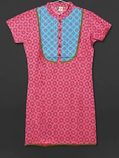 Pink Printed Cotton Short Kurti - AYAN