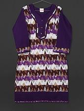Violet Printed Cotton Kurti - AYAN