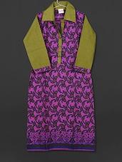 Purple Paisley Printed Collared Cotton Kurti - AYAN