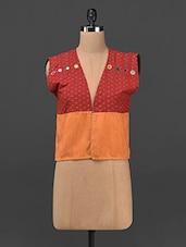 Mirror Work Dual Tone Cotton Handloom Waistcoat - Maandna