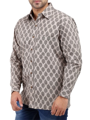 beige cotton casual shirt - 10819294 - Standard Image - 2