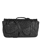 Butterfly Embellished Quilted Leatherette Sling Bag - Lass Lee