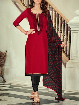 blood red chanderi unstitched suit
