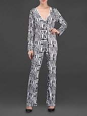Typography Print Poly Knit Jumpsuit - I AM TROUBLE BY KC
