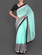 Geometric Pattern Turquoise Blue  Saree - Utsav