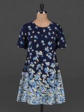 Floral Printed Round Neck Shift Dress - RENA LOVE